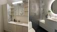 Ennen ja jälkeen. Johanna Sorjonen remontoi vanhanaikaisen vessan omaa makuaan vastaavaksi. Sorjonen luottaa yksinkertaiseen tyyliin. Huoneen katseenvangitsijoita ovat betoninen tapettiseinä, viherkasvi ja kaunis valaistus.