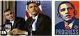 Näistä kuvista on kyse. Vasemmalla Mannie Garcian lehdistöklubilla ottama valokuva, jossa Obamasta vasemmalla on näyttelijä George Clooney. Myöhemmin Shepard Fairey korvasi edistyksen toivolla, muutti julisteen tekstiksi sanan hope.