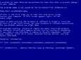 """Windows XP:n """"sininen kuoleman ruutu""""."""
