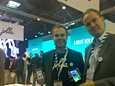 Jollan markkinointijohtaja Sami Pienimäki ja toimitusjohtaja Antti Saarnio Barcelonassa.