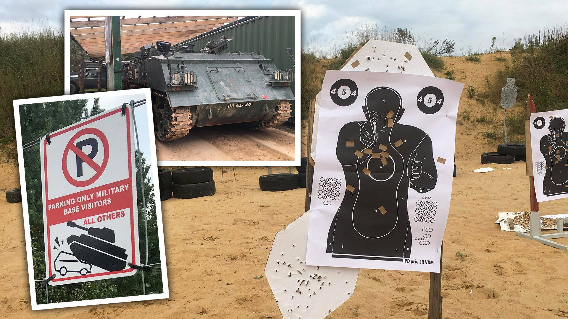 Liettualaisille opetetaan sissi- ja sotilastaitoja leirillä, jossa on muun muassa panssaroituja miehistönkuljetusvaunuja ja harjoitusratoja.