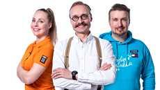 Katariina Vesterinen, Samuli Laurikainen ja Tommi Juhala kisaavat keksintöineen Suomalainen menestysresepti -sarjassa.