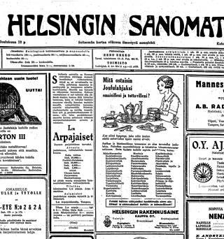 Sokeripihdit ja keittiöveitset olivat suosituslistalla Helsingin Sanomien joululahjailmoituksessa vuonna 1926.