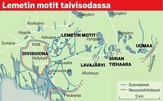 """Neuvostojoukkojen 18. ja 168. Divisioona etenivät Laatokan pohjoisrantaa kohti Sortavalaa. 18. Divisioonalle näytti avautuvan tie Kollaan puolustajien selustaan. Suomalaisten ensimmäiset vastahyökkäykset joulukuussa pysäyttivät etenemisen. Talven edetessä puna-armeijan huolto vaikeutui. Tammikuussa 1940 suurhyökkäys pakotti 168. Divisioonan Kitilän suurmottiin. Siitä itään jäi joukko pienempiä motteja, joukossa """"Lemetin motit"""". Törni osallistui niiden tuhoamiseen tammi-helmikuun vaihteessa. Hän sai esimiehensä """"Motti"""" Matti Aarnion suosion ja komennuksen upseerikouluun."""