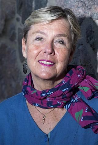 Maarit Tyrkkö vuonna 2016, jolloin ilmestyi hänen toinen muistelmateoksensa Presidentti ja toimittaja.