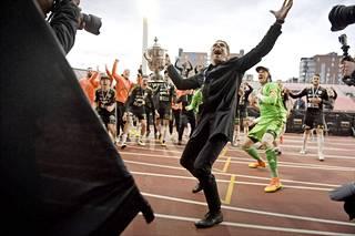 SJK juhli viime syyskuussa Suomen Cupin voittoa.