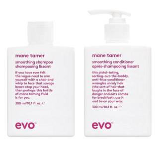 Evo mane tamer smoothing shampoo 27 € ja mane tamer smoothing conditioner 27 €. Saatavilla myös lockdown smoothing treatment 29,50 €. Parturi-kampaamot, Stockmann Helsingin keskusta ja IdHAIR-verkkokauppa.