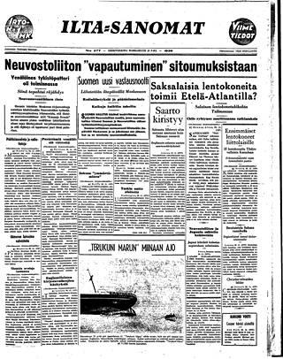 Ilta-Sanomat kertoi Mainilan laukauksista ja Suomen vastausnootista 29.11.1939.