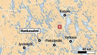 Kuolononnettomuus tapahtui Hankasalmella maastossa.