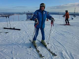 Kuvassa Eino Kalpala Finnish Alpine Mastersin kisoissa Levillä keväällä 2016.