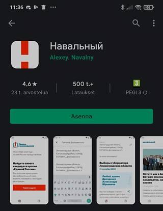 Aleksei Navalnyin sovellus on edelleen saatavilla muualla kuin Venäjällä. Kuvakaappaus.