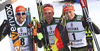 Kolmanneksi sijoittui Bjlrn Kircheisen, mestari Johannes Rydzek (kesk.) ja hopeamitalisti Eric Frenzel.