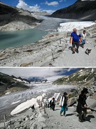 Furkapassin jäätikkö Sveitsissä on sulanut kymmenessä vuodessa valtavasti. Yllä oleva kuva on vuodelta 2018, alla vuodelta 2008.