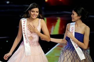Stephanie Vel Vallen reaktio voittajan julistamisen jälkeen, vierellä Natasha Mannuela.