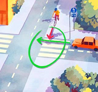 Vaikka suojatien saa ylittää pyörällä ajaen, niin tässä tilanteessa pyöräilijä on väistämisvelvollinen, ellei liikennemerkeillä toisin osoiteta.