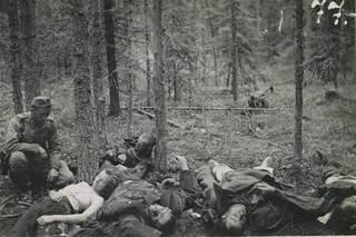 """Tunnetuin """"rintamapornokuva"""" esittää tuhottua venäläistä partiota Maaselän kannaksella tai Humaljoella. Erään aikalaistiedon mukaan kaatunut naissotilas oli nukahtanut vartioon."""