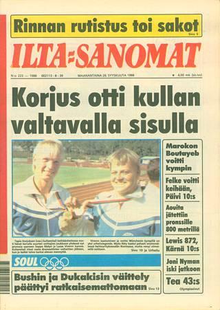 Ilta-Sanomat kertoi maanantaina 26. syyskuuta 1988 Korjuksen uroteosta. Hän heitti olympiavoittajaksi, vaikka hänen lähentäjälihaksensa oli revennyt. Oliver Helanderilla on nyt samankaltainen vamma.