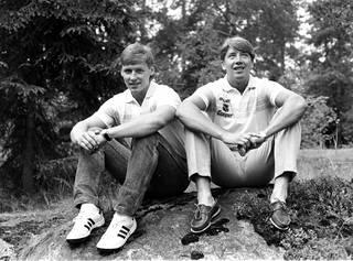 Ilkka Sinisalo ja Jari Kurri pelasivat samaan aikaan NHL:ssä 1980-luvulla.