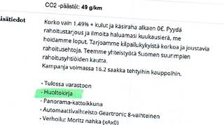 Volvon myynti-ilmoituksessa oli maininta huoltokirjasta.