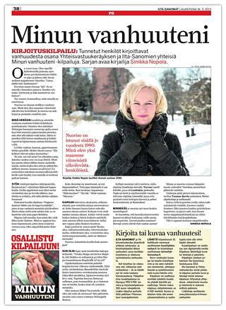 Nopolan kirjoitus julkaistiin Ilta-Sanomissa 16.3.2013.
