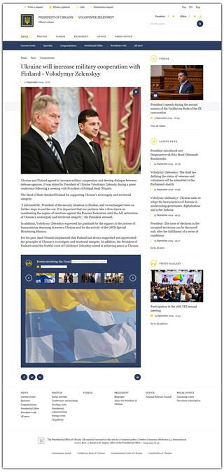 Ukrainan presidentin Volodymyr Zelenskyin virallisilta nettisivuilta katosi lauantaina iltapäivällä artikkeli, jossa kerrottiin Suomen ja Ukrainan väitetysti sopimasta sotilaallisesta yhteistyöstä. IS ehti ottaa artikkelista ruutukaappauksen.