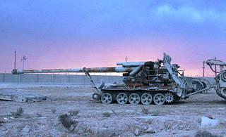 Kuvan Pohjois-Koreassa valmistettu M-1978 Koksan -tykki on kuvattu Irakissa heinäkuussa 2009.