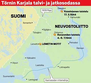 Lauri Törni taisteli talvisodassa Laatokan pohjoisrannalla. Vuonna 1941 hän johti Kevyt osasto 8:n panssarijoukkuetta, joka eteni kohti Petroskoita. Rintamalinjan vakiinnuttua vuoden lopulla Törni johti ensin tiedustelupartiota ja sitten omaa komppaniaansa Maaselän suunnalla. Vuoden 1944 suurhyökkäyksen alettua joukkoja vedettiin pohjoisesta Kannakselle, mikä mahdollisti puna-armeijan etenemisen myös Itä-Karjalassa. Törnin jääkärit kävivät jatkuvia viivytystaisteluja ja olivat vielä mukana Ilomantsissa suomalaisten viimeisessä suuressa voitossa juuri ennen välirauhaa.