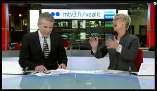 Kymmenen uutisten loppukevennyt 17. tammikuuta 2012. Ankkurit Keijo Leppänen ja Pirjo Nuotio irvailivat poliisin 20 riviselle tiedotteelle ilman yhtäkään pistettä.