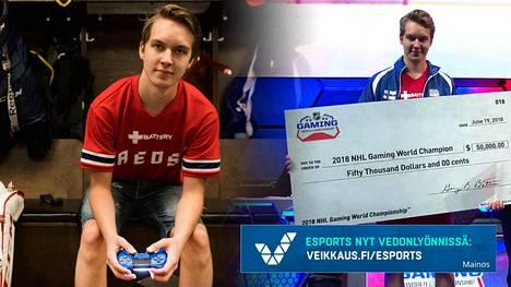 """Erik """"EKI"""" Tammenpää on NHL-pelin maailmanmestari. Erik edustaa suomalaista Helsinki REDS -joukkuetta."""