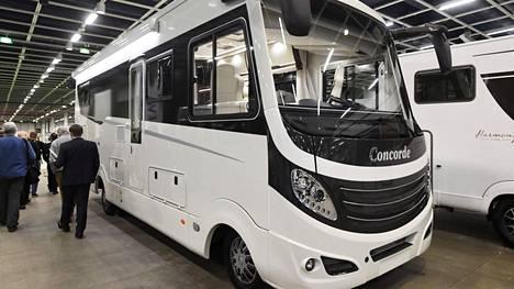 Concorde Charisma -asuntoauto Caravan-messujen lehdistökierroksella Helsingissä 17. tammikuuta 2019.