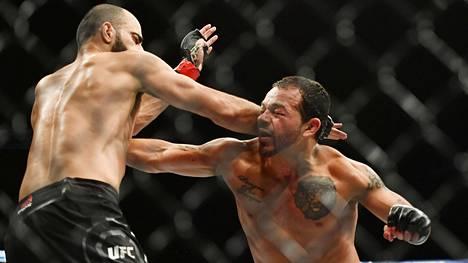 Irwin Rivera (oik.) otteli ensimmäistä kertaa UFC:ssä viime huhtikuussa kärsien tappion tuomaripisteillä georgialaista Giga Chikadzea vastaan.