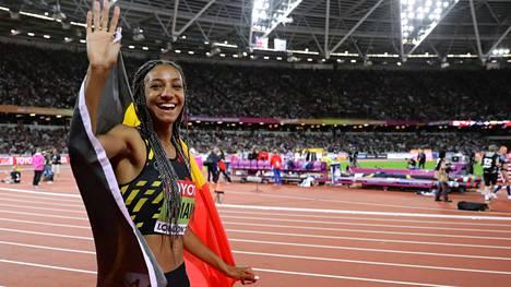 Nafissatou Thiam voitti seitsenottelun MM-kultaa.