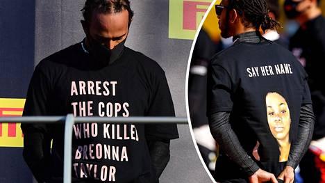 Lewis Hamiltonin paita herätti F1-pomojen mielenkiinnon.