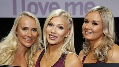 Viime vuoden Fitnessmalli-kilpailun finaalikolmikko: voittaja Meri Turunen (kesk), 2. sija Anni Vallius (oik) ja Elina Leskinen (vas).