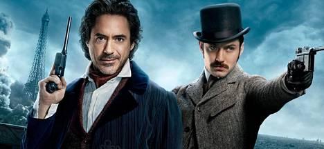Robert Downey Jr. ja Jude Law Sherlock Holmes -filmissä.