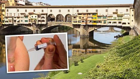 Ponte Vecchio -silta koristaa Firenzeä Italiassa. Maassa tuli runsaat puoli vuotta sitten voimaan pakollinen rokotusohjelma, jonka mukaan rokottamatta jätetyt lapset eivät pääse päivähoitoon.