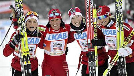 Norjan naiset johtivat tutusti joukkoa Jällivaaran viestihiihdossa.
