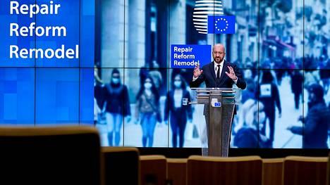 Eurooppa-neuvoston puheenjohtaja Charles Michel piti tiedotustilaisuutta EU:n budjetista Brysselissä 10. heinäkuuta.