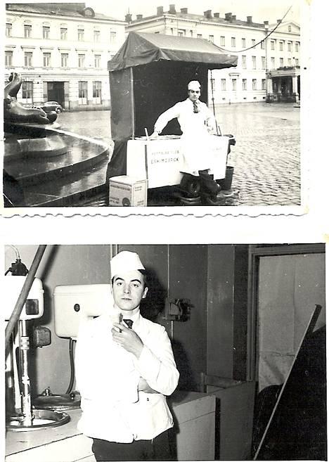 Oreste Magi hymyili ylpeänä jäätelökärrynsä kanssa Kauppatorilla 1950-luvulla.