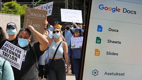 Kansanliikeaktivistit ovat ottaneet käyttöönsä Googlen työkalut. Kuva mielenosoituksesta USA:n Newarkista kesäkuun alussa.