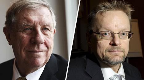 Talousosaaja Eero Lehti (vas.) ja Vaasan yliopiston rahoituksen professori Timo Rothovius.