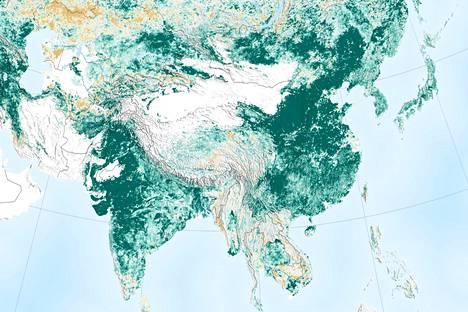 Kartalta voi nähdä metsien lisääntyneen erityisesti Kiinan ja Intian rajojen sisäpuolella.