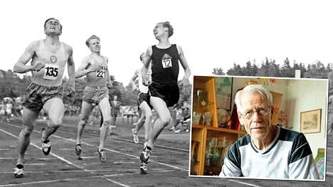 Olavi Salonen (vas.), Olavi Vuorisalo ja Olavi Salsola maaliviivalla heinäkuun 11. päivänä 1957. Salonen ja Salsola saivat ajan 3.40,2 ja Vuorisalo 3.40,3. Olavi Vuorisalo muistaa 60 vuoden takaiset tapahtumat yhä.