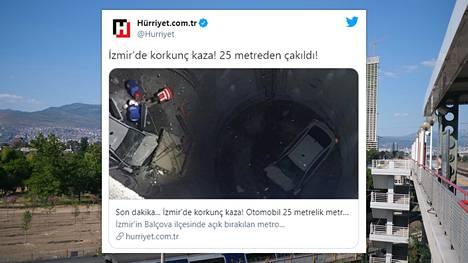 Henkilöauto ajoi lehtitietojen mukaan esteiden läpi metron rakennustyömaalle ja putosi 25 metriä syvään kuoppaan.