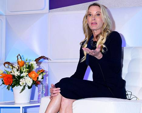 Suzy Favor Hamilton esiintyi terveysalan konferenssissa New Yorkissa tammikuussa.