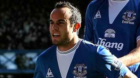 Landon Donovan pääsi juhlimaan maaleja viime kaudella Evertonin paidassa.