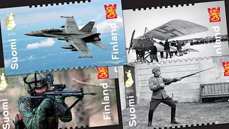 Postimerkkisarjassa käsitellään puolustusvoimien historiaa ja nykyhetkeä.