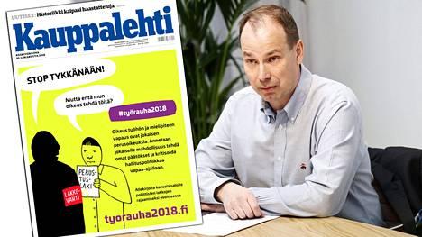 Peikko Groupin toimitusjohtaja Topi Paananen kehottaa Kauppalehden etusivulla ostamassaan ilmoituksessa allekirjoittamaan Työrauha 2018 -kansalaisaloitteen.