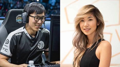 "TSM:n esports-vastaava Leena Xu seurustelee organisaation LoL-joukkueeseen palanneen Yiliang ""Doublelift"" Pengin kanssa."