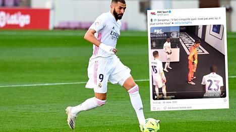 Real Madridin Karim Benzeman väitetään jakaneen erikoisia käskyjä Borussia Mönchengladbachia vastaan pelatun ottelun puoliajalla.